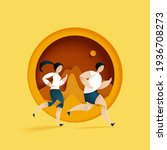 male and female running in... | Shutterstock .eps vector #1936708273