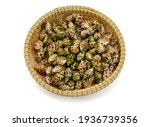 Sweet Snail In Basket Isolated...