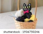 Felt Toy Black Cat With Yellow...