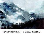 beautiful nordic watercolor... | Shutterstock . vector #1936758859