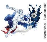 abstract soccer player design... | Shutterstock .eps vector #1936786600