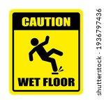 wet floor sign on white...   Shutterstock .eps vector #1936797436