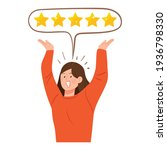 five star review. the woman... | Shutterstock .eps vector #1936798330