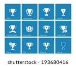 champions cup icons on blue...