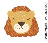 cute baby lion face. vector... | Shutterstock .eps vector #1936821223