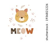 meow   cute nursery decor... | Shutterstock .eps vector #1936821226
