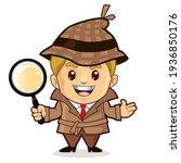 detective mascot cartoon in... | Shutterstock .eps vector #1936850176