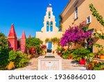Corfu, Greece. Courtyard of the Theotokos Monastery also known as Paleokastritsa Monastery.