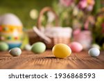 Easter Basket And Eggs. Spring...