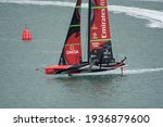Small photo of Waitemata Harbour, Auckland, New Zealand - March 16 2021: Emirates Team New Zealand, Te Rehutai before the ninth race of the 36th America's Cup.