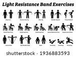 light resistance band exercises ... | Shutterstock .eps vector #1936883593
