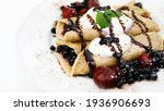 pancake with chocolate and... | Shutterstock . vector #1936906693