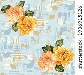 yellow and cream vector flowers ... | Shutterstock .eps vector #1936915126