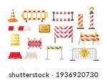 traffic road repair barriers... | Shutterstock .eps vector #1936920730