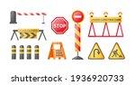 traffic road repair barriers... | Shutterstock .eps vector #1936920733