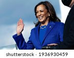 Small photo of Washington DC, USA - JANUARY 20 2021: Vice President of the United States Kamala Harris takes the Oath of Office on the platform of the U.S. Capitol during the 59th Presidential Inauguration