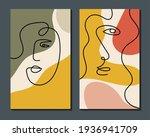 Modern Abstract Art Face. Set...