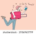 woman with suitcase running to... | Shutterstock .eps vector #1936965799