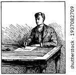 man writing at table or seated... | Shutterstock .eps vector #1937082709