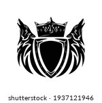 pair of howling wolf heads with ... | Shutterstock .eps vector #1937121946