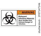 ansi warning label biohazard...   Shutterstock .eps vector #1937147146