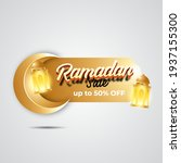 luxury ramadan sale banner with ... | Shutterstock .eps vector #1937155300