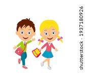 cute cartoon boy and girl go...   Shutterstock .eps vector #1937180926