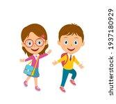 cute cartoon boy and girl go...   Shutterstock .eps vector #1937180929
