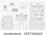 kitchen with a flowerpot and a...   Shutterstock .eps vector #1937196610