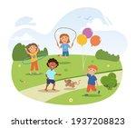 cute little children are... | Shutterstock .eps vector #1937208823