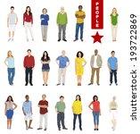 multiethnic people on white... | Shutterstock .eps vector #193722869