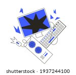 blue screen of death or... | Shutterstock .eps vector #1937244100