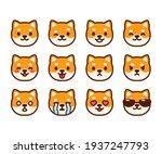 set of cute shiba inu puppy... | Shutterstock . vector #1937247793