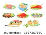 creative festive seafood dishes ... | Shutterstock .eps vector #1937267980