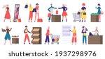 supermarket grocery shopping.... | Shutterstock .eps vector #1937298976