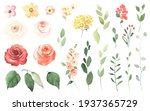 floral set with simple roses ... | Shutterstock . vector #1937365729