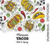 mexican tacos and ingredients... | Shutterstock .eps vector #1937414260