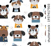 funny dogs seamless pattern....   Shutterstock .eps vector #1937417503