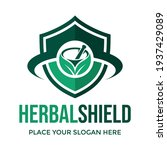 herbal shield vector logo... | Shutterstock .eps vector #1937429089