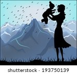 Silhouette Of A Mother And Her...