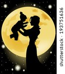 Silhouette Of Mother And Child...
