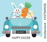 easter car  bunny  egg and... | Shutterstock .eps vector #1937569030