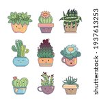 floral set with vector cactuses ...   Shutterstock .eps vector #1937613253