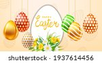 happy easter colored eggs... | Shutterstock .eps vector #1937614456
