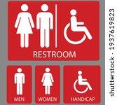 set toilet signs. men and women ... | Shutterstock .eps vector #1937619823