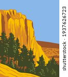 The Sandstone Bluff of El Morro National Monument in Cibola County, New Mexico WPA Poster Art