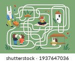 kids maze game with cute...   Shutterstock .eps vector #1937647036