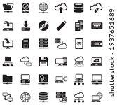 Data Storage Icons. Black Flat...