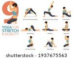 infographic 9 yoga poses for... | Shutterstock .eps vector #1937675563