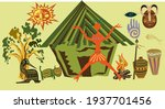 primitive man animals fire and... | Shutterstock .eps vector #1937701456